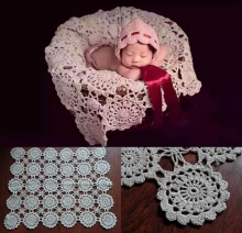 Crochet Baby Blankets Newborn Photography Props,Rosette Wrap Baby Pattern Knitted,#P0240(China)