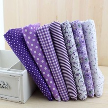 7pieces 50cmx50cm purple series cotton fabric fat quarter bundle patchwork cotton quilting fabric Tilda cloth basic quality(China)
