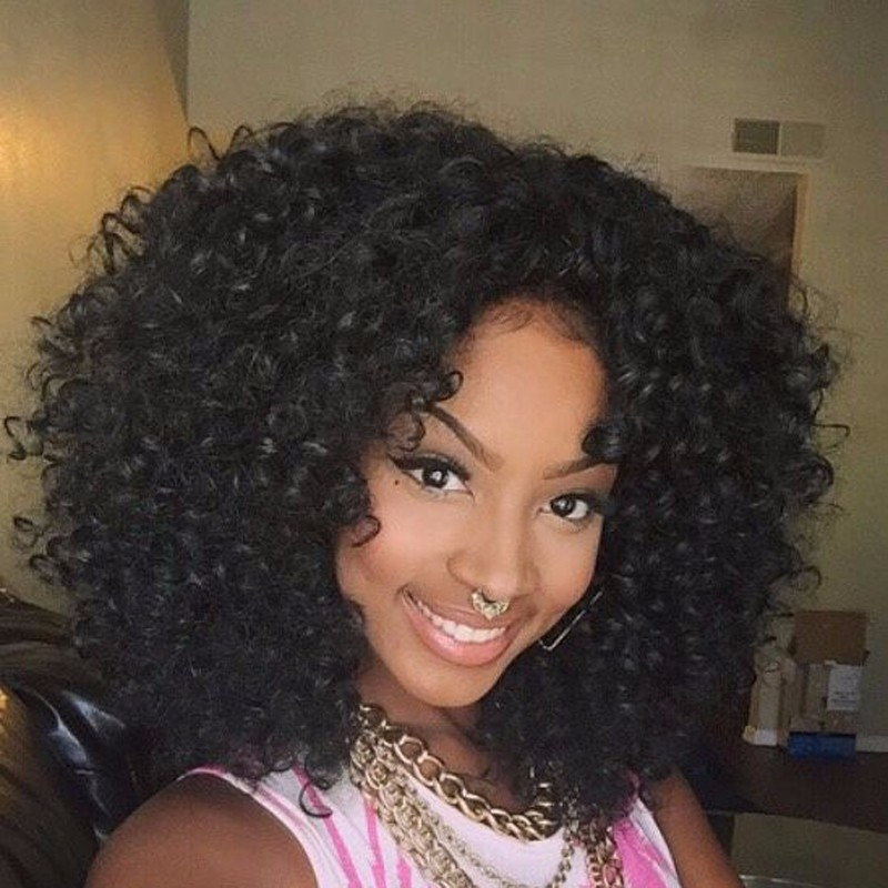 Cheap Afro Kinky Synthetic no Lace Front Wig African American Short Wigs For Black WomenBlack color Female Cosplay Wig<br><br>Aliexpress