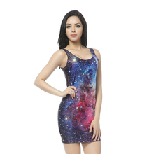 bandage dresses Blue Galaxy Dresses Print Mini Bodycon Women Summer Sexy Clothing Suit for Party Club Woman Clothing