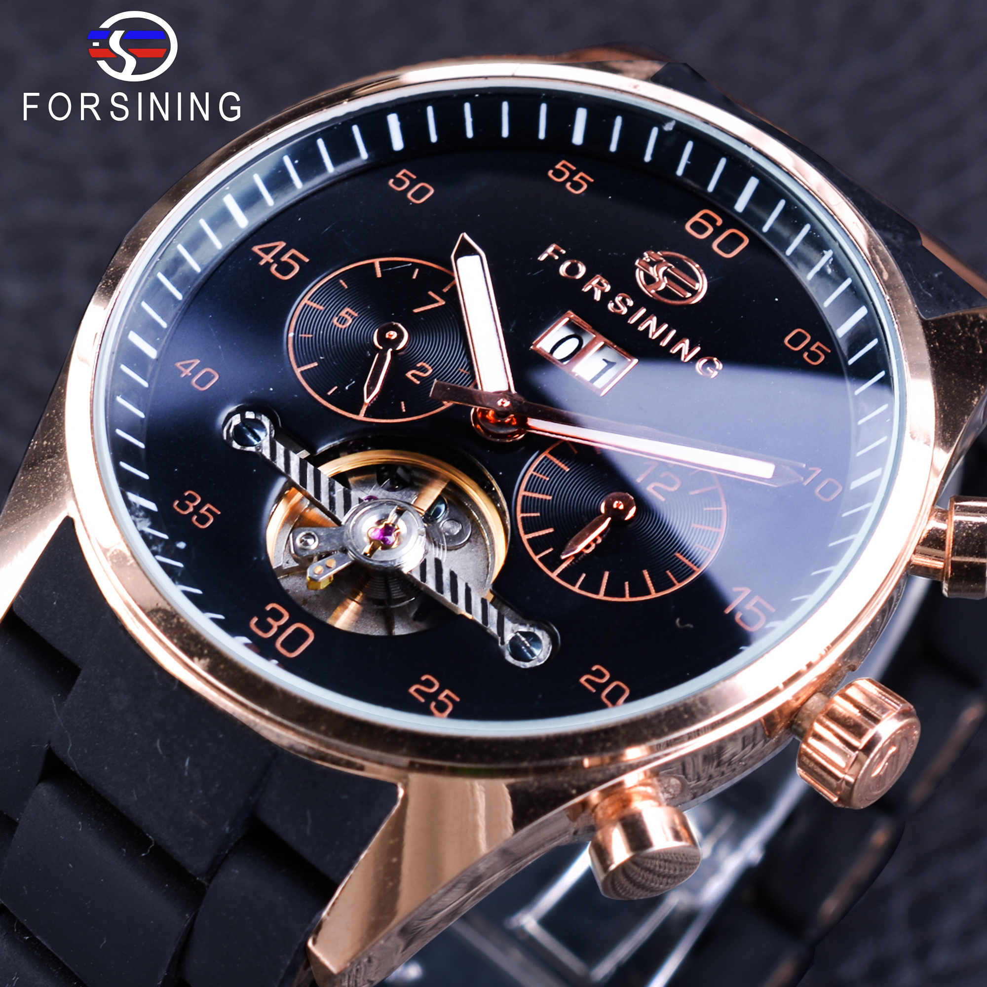 Forsining PILOT Style Calendar Display Silicone Stainless Steel Band Men Tourbillon Automatic Wristwatch Luminous Creative Clock<br>