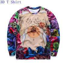 2017 Autumn Women's New Fashion 3D Hoodies Girl Sexy Body Rose Flower Design Brand Sweatshirt Casual Crewneck Tops Size S-XL