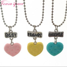 Loura Shace 3pcs Best Friends Soft Tao heart-shaped cookies color Necklace Love Friendship Christmas Gift kids Necklace Jewelery