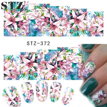 STZ 1 Sheets Women Nail Art Designs Watermark Temporary Tattoos Lily Beauty Flower Decals Sticker DIY Craft Foils STZ372
