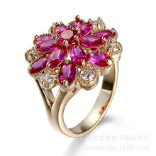 Manufacturers Europe and America explosion flower, zircon ring jewelry, ladies wedding gift decorations wholesale(China)