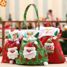 1PC Christmas Candy Bag Christmas Gift Holders Santa Claus Holder Bags Kids Toys For Christmas Party Decoration
