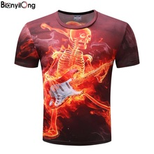 Heavy metal band T shirts 3D Printed T-shirts Men O-NECK New 2017 Tops Short Sleeve Skull Tees Novelty Streetwear Funny Camiseta