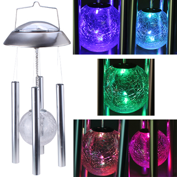 Fashion Solar Powered Color Changing Glass Ball LED Light Copper Hanging Wind Chime Light Lamp Yard<br><br>Aliexpress