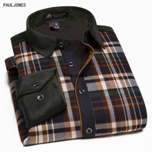 PaulJones Brand Men Long Sleeve Patchwork Shirt Cheap Slim fit Dress Autumn and Winter Warm Plaid Thermal Shirts China Imported(China)