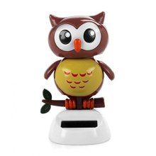 Solar Powered Dancing bird Big Eye Brown Owl,Novelty Desk Car Toy Ornament