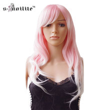 SNOILITE 24inch Party Cosplay Wig Ombre Long Curly Synthetic Heat Resistant Fibre Full Head Hair Wigs Halloween Mix Brown Pink(China)