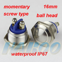 10pcs/lot IP67 16mm screw type metal stainless steel pushbutton switch waterproof IP67