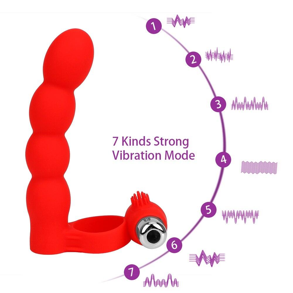 OLO Strapon Dildo Vibrator Anal Bead Plug Prostate Massager Double Penetration Cock Vibrator Ring Sex Toys for Men Couple 4