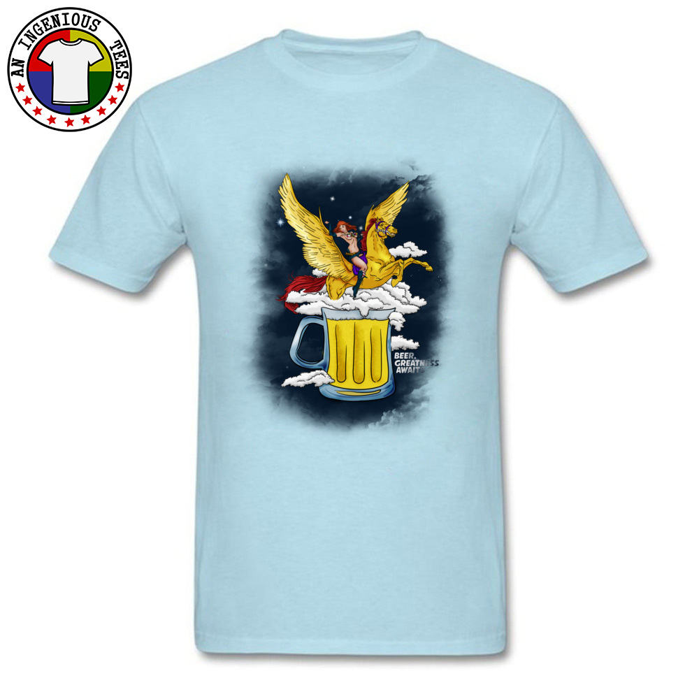 Beer Greatness Awaits Casual Tops Shirts Short Sleeve for Men Pure Cotton Summer Crew Neck T Shirts Custom Tees Fashionable Beer Greatness Awaits light