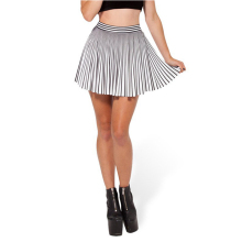 Buy High Waist Pleated Striped Skirt Summer 2017 Vintage Chiffon Skirt Women Elastic Slim Mini Skirts Womens Clothing for $7.36 in AliExpress store