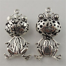 5pcs/pack Wholesale Man Punk antique silver hollow frog prince Necklace Pendant jewelry Findings charms Animal Shape Cute 08402