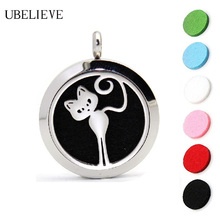Cat Pattern Essential Oil Jewelry Stainless Steel Aromatherapy Diffuser Necklace Pendant Aroma Scent Choker Locket Free Pads(China)