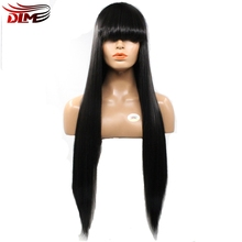 DLME Hair 150% Density Silk Straight Full Fringe Glueless Lace Front Wig With Bangs Bleached Knots For Black Women Synthetic(China)