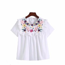 2017 spring and summer new fashion embroidery and laminated decorative round neck short sleeve shirt