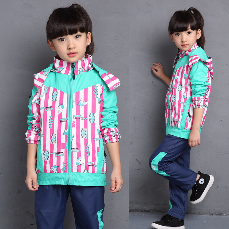 2017 Spring New Sport Girls Clothes Set,Striped Flag Kids Pizex,Windproof Outdoor Hiking Jacket,Children Clothing,Girls Pants<br>