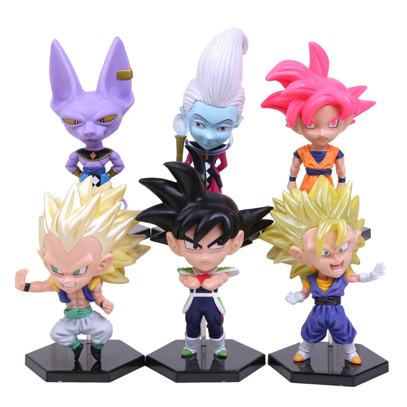 Dragon Ball Z battle of gods Son Goku Vegeta Birusu Uisu PVC Figures Collectible Toys 6pcs/set OPP bag WU453<br><br>Aliexpress