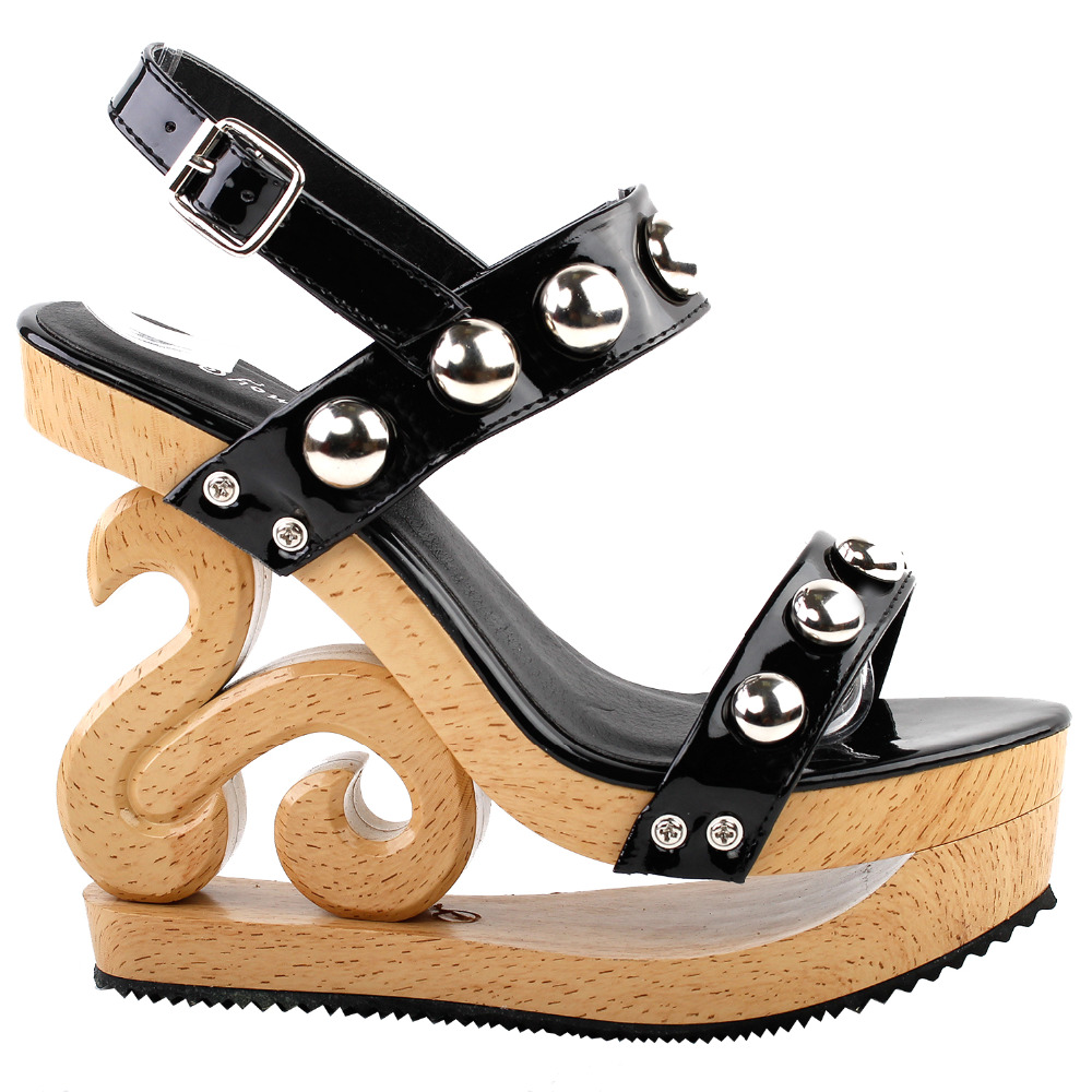 LF30832 Sexy Metal Ball Strappy Slingback Wooden Look Wedges Platform Clogs Sandal Black<br>