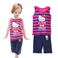 Hot Sale Lovely Children Hello Kitty Pajamas KT Cat Set Summer Sleeveless Kids Character Clothing Sets For Boy Girls pijama suit