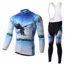 XINTOWN Eagle Bicycle Clothes Set Men Long Sleeve Rode Bike Jerseys 3D Gel Padded Bib Pants Wicking Quick Dry Cycling Wear