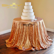 Rose Gold Tablecloths 108 Inches Round Sequin Table Cover Wedding Sequin Overlay   &a