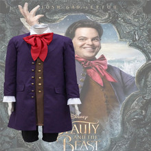 2017 Movie Beauty and the Beast Lefou Cosplay Costumes Men Outfit Trench Vest Shirt Pants and Bowknot Custom Made