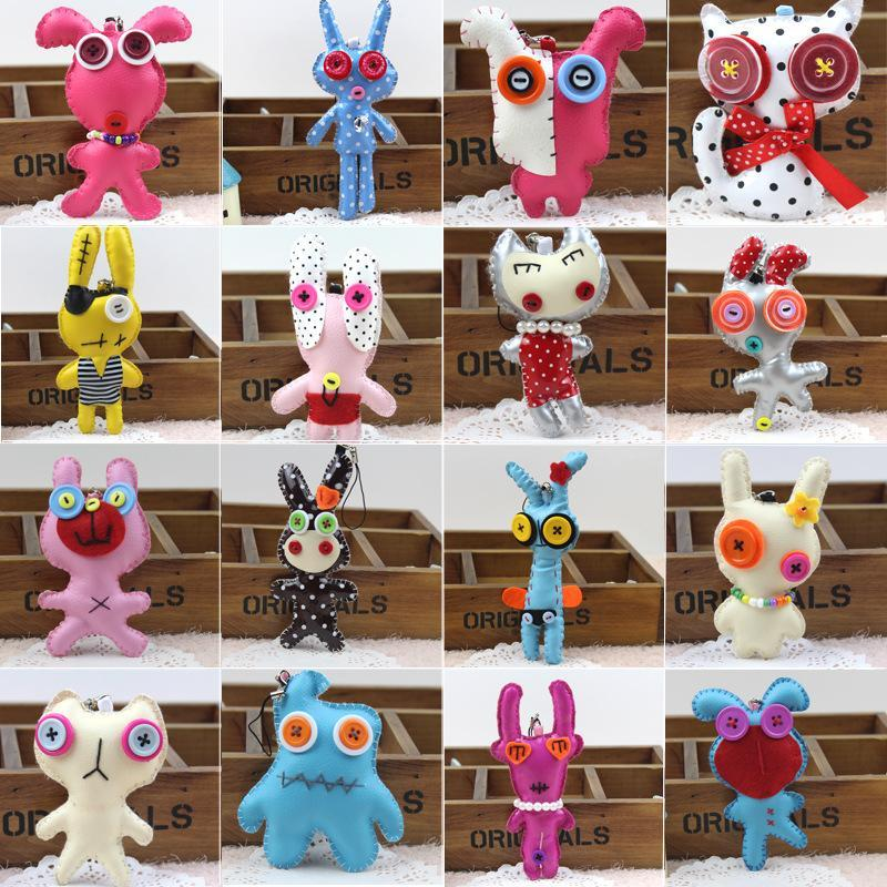 10CM Kawaii PU Dolls Mobile Phone Cell Phone Handmade Cloth Dolls Charm Phone Straps Puppet Bag Pendant(China (Mainland))
