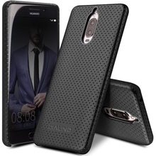QIALINO for Huawei Mate 9 Pro / Mate 9 Porsche Design Leather Cases Mesh Design Genuine Leather Coated PC Cell Phone Cover Capas
