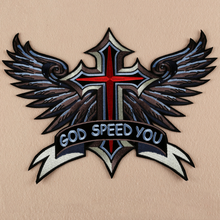 1Pcs/set Embroidered Iron On Patches Large Punk God Speed You Cross Wing Badge Biker Patches For jacket