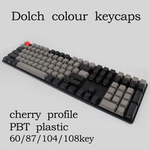 Free shipping Black Gray mixed Dolch Thick PBT 104 87 61 Keycaps Mac Keys cherry Profile Key caps For MX Mechanical Keyboard(China)