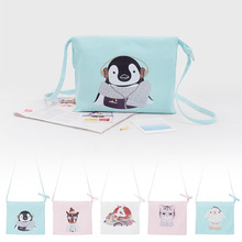 Free Shipping Fashion Canvas Children Messenger Bags Blue White with Cat Pattern for Children Girls X12