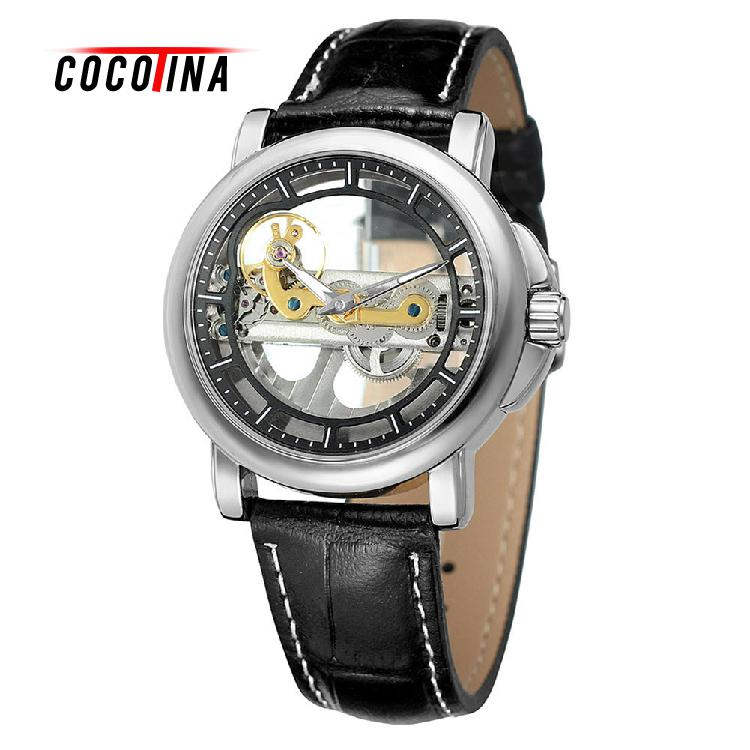 COCOTINA Unisex Skeleton Mechanical Watches For Men Women Leather Strap Male Clock Men Mechanical Wristwatch LJX2602<br>