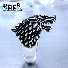 Beier Store Stainless Steel Game Thrones Ice Wolf House Stark Of Winterfell Biker Animal Ring Fashion Jewelry BR8-351(China)