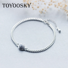 TOYOOSKY New Fashion Jewelry 925 Thai Silver Round Ball Chain Bracelets Oil Drop Round Charm or Anklet For Birthday