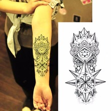 Hot Sexy Fake Temporary Tattoos Shoulder Lower Arm Transfer Tattoo Stickers Black Totem Men Spray Waterproof Tatto Design(China)