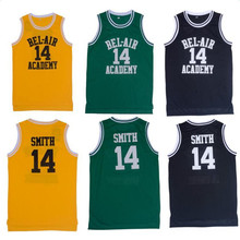 Basketball Jersey Will Smith the Fresh Prince Movie American Throwback Sleeveless Jerseys Yellow Black Green #14 Basketball