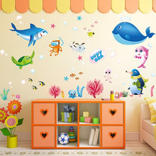 Cartoon Seabed World Deep Sea Fish Nemo Bathing Glass Wall Sticker DIY Removable Vinyl Nursery Kids Baby Room Home Decor Mural