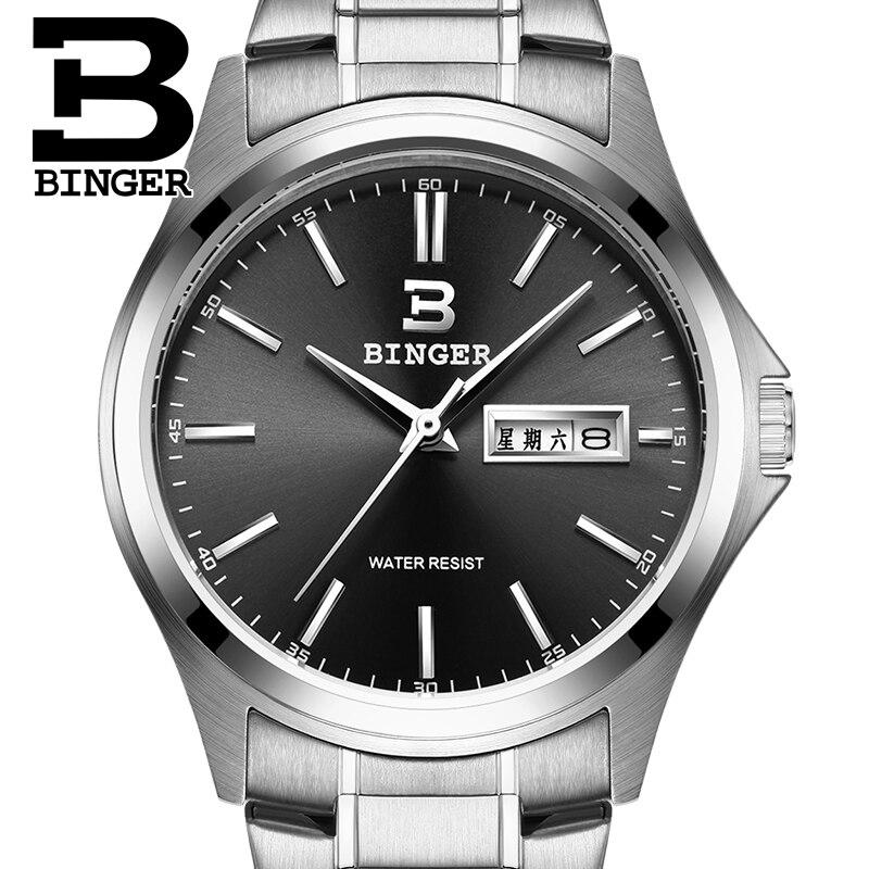 2017 Switzerland luxury mens watch BINGER brand quartz full stainless clock Waterproof Complete Calendar Guarantee B3052B5<br>