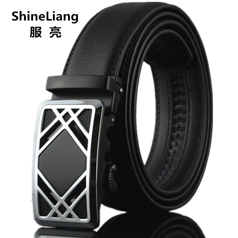 2017 Men's belt Leather width 3.5CM Length 110/120/130CM Automatic metal buckle Designer high Fashion brand strap male
