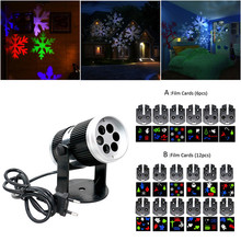 Christmas Snow Laser Projector Outdoor LED Fairy Light Projection 6-12 Film Cards Holidays Wedding Christmas Decoration For Home(China)