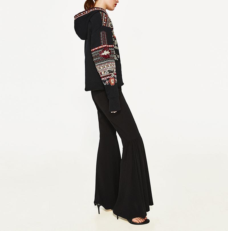 ShejoinSheenjoy Hooded Long Sleeve Loose Hoodies Women Fashion Black Vintage Floral Geometric Embroidery Sweatshirt Pullovers (8)