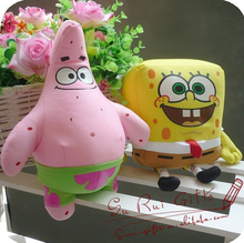 2pcs/lot 25CM SpongeBob and Plush Toys Cartoon Stuffed Animal Doll Holiday&Birthday Gift Super Quality