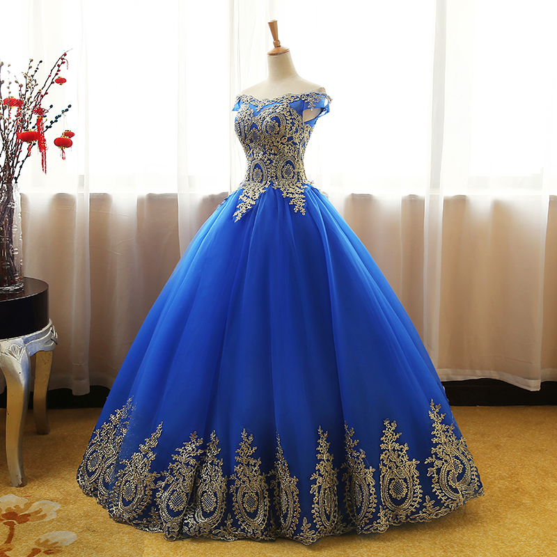 Buy on sale Quinceanera Dress Gold Appliques Lace Sweet 16 Dress Ball Gown