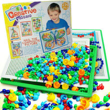 296 Pcs Children boys girls 7 Color Change Creative Flashboard DIY Mushroom Nail Beads 3 D Puzzle Enlightenment Educational Toy