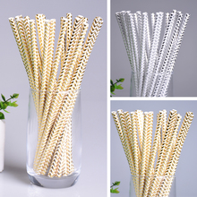 25pcs Paper Drinking Straws Gold Silver Paper Straw Event Party Decoration Supplies Wedding Kids Happy Birthday Christmas Decor
