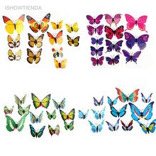 ISHOWTIENDA 12PCS 3D PVC Magnet Butterflies DIY Wall Sticker Home Decor New Arrival Hot Sales Drop Shipping(China)